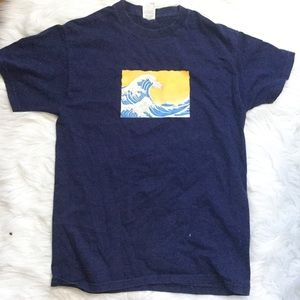 Men's blue surfing graphic t shirt size medium